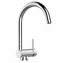 Kitchen single-lever sink mixer with high swivel 360° spout