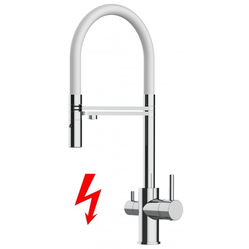 3 way kitchen filter mixer 100% stainless steel, 360° turn black movable spout, 2 jets removable spray, polished finish