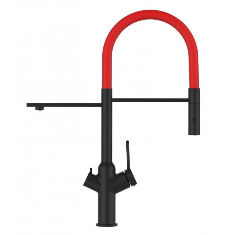3 way blackchrome kitchen filter sink mixer red movable spout and 2 jet spray, works with all water filter system
