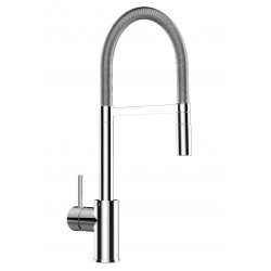 Single-lever kitchen sink mixer with L swivel folding white spout