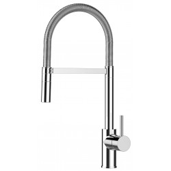 Single-lever kitchen sink mixer with L swivel folding black spout