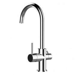 Kitchen single-lever sink mixer with high swivel spout