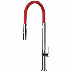Single-lever 100% STAINLESS STEEL kitchen sink mixer with black swivel spout