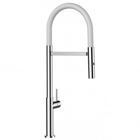 Single-lever 100% STAINLESS STEEL kitchen sink mixer with black swivel spout and single jet shower
